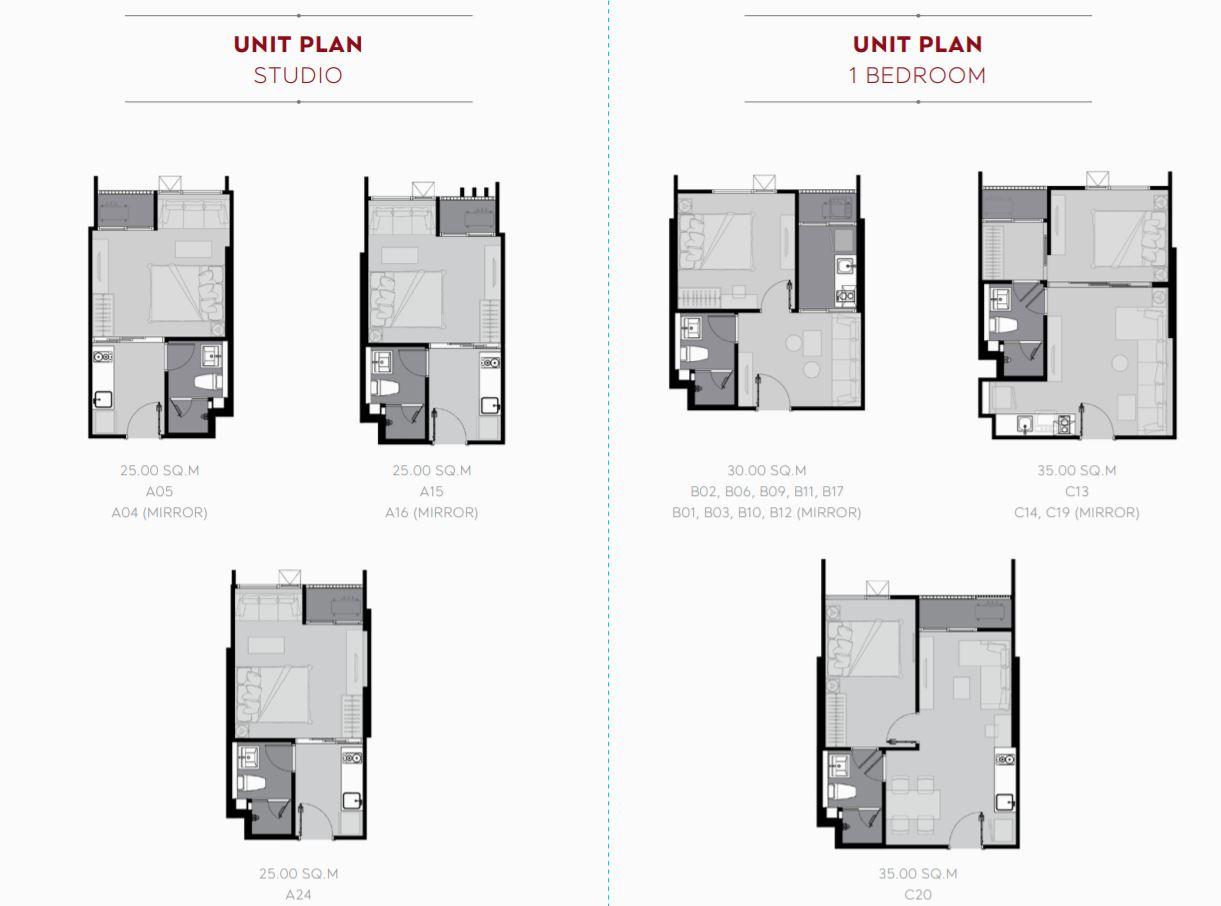 Unit Plan Studio & 1 Bedroom