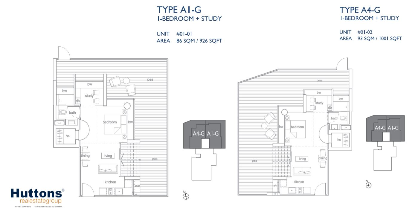 Floor Plan Type A1-G and A4-G