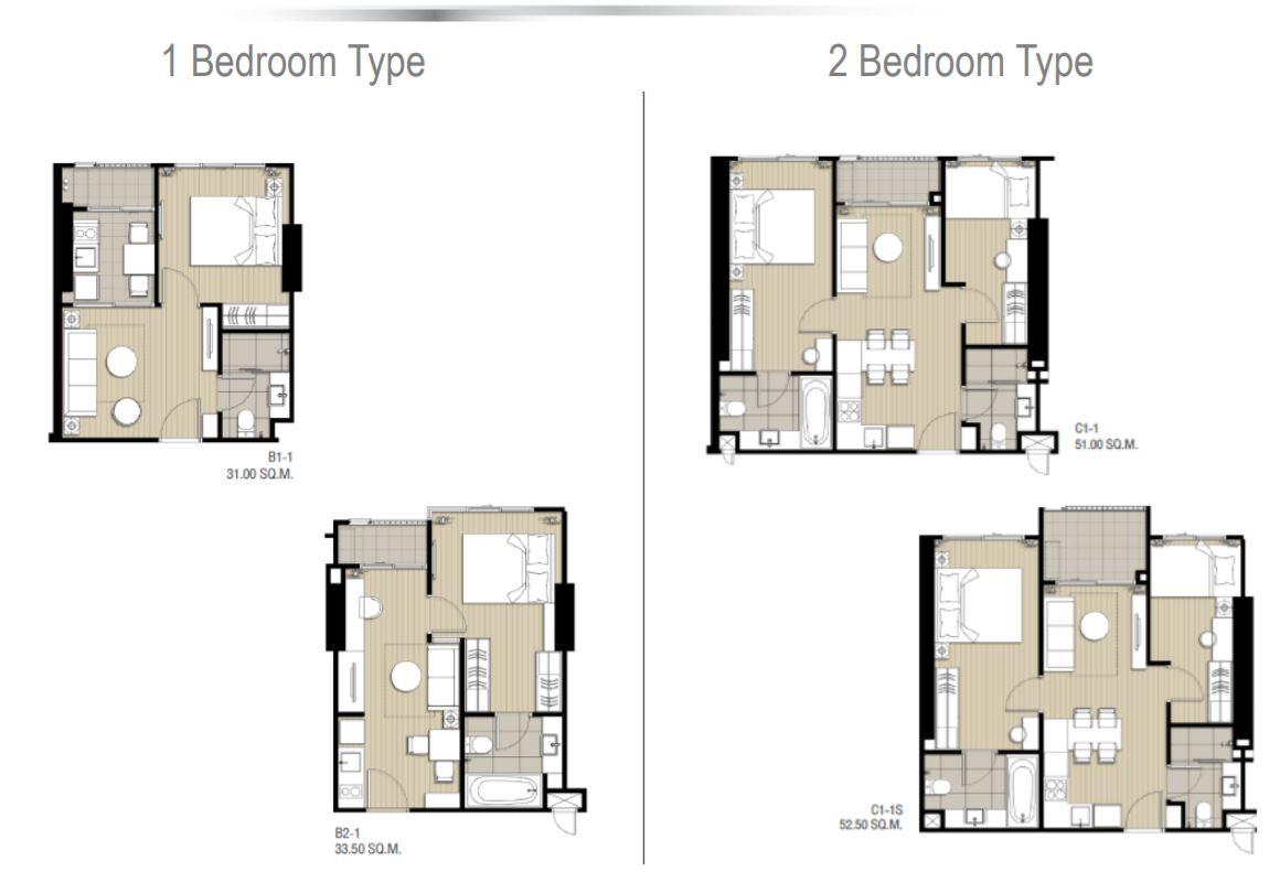 Floor Plan 1Bedroom 2 Bedroom Type
