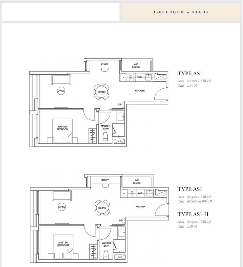 Floor Plan 1 Bedroom+Study TypeAS1
