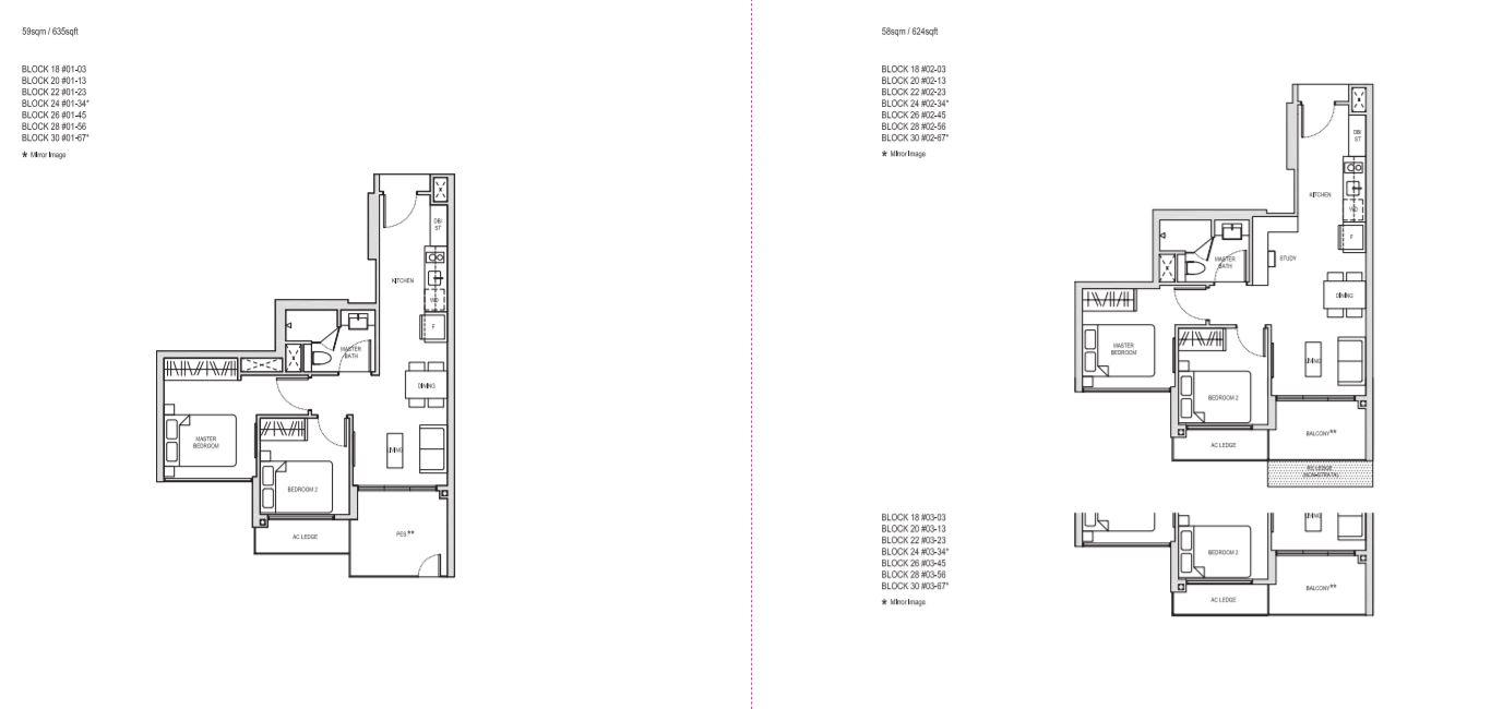 Floor Plan 2 BedRoom Type B1(PES),2 BedRoom+Study BS1