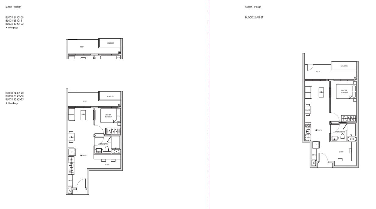 Floor Plan OneBedRoom+Study Type AS1(a)(PES), AS2(PES