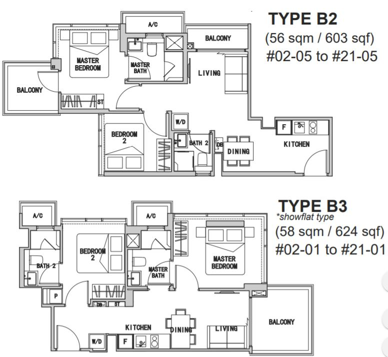 2 Bedroom Type B2&B3