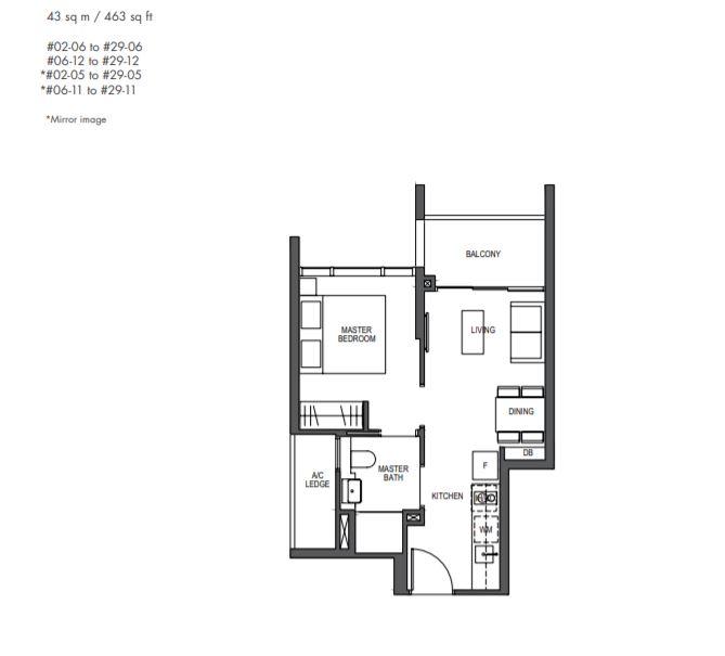 FloorPlan 1 Bedroom Type1