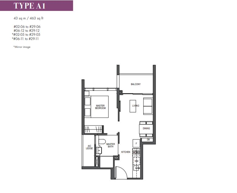 FloorPlan 1 Bedroom Type A1