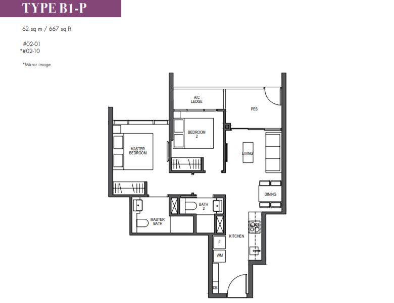 FloorPlan 1 Bedroom Type B1-P