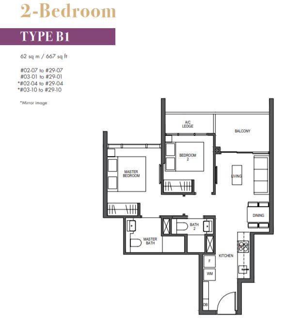 FloorPlan 1 Bedroom Type B1