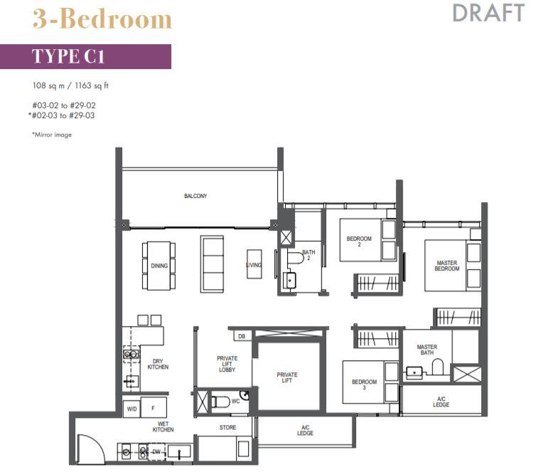 FloorPlan 1 Bedroom Type C1